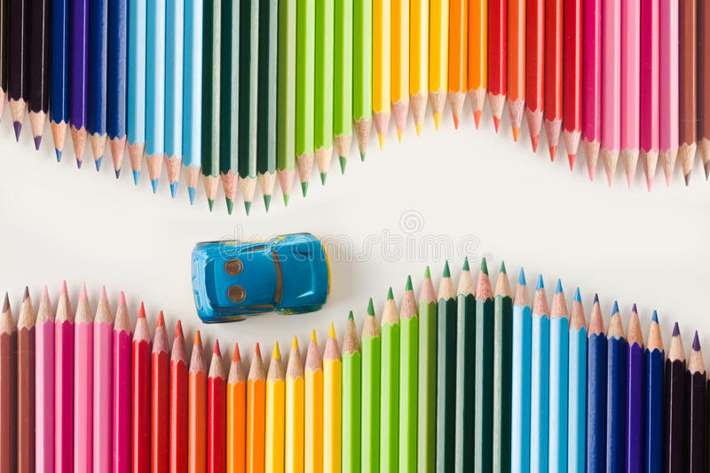 Colorful journey. Color pencils set on white background