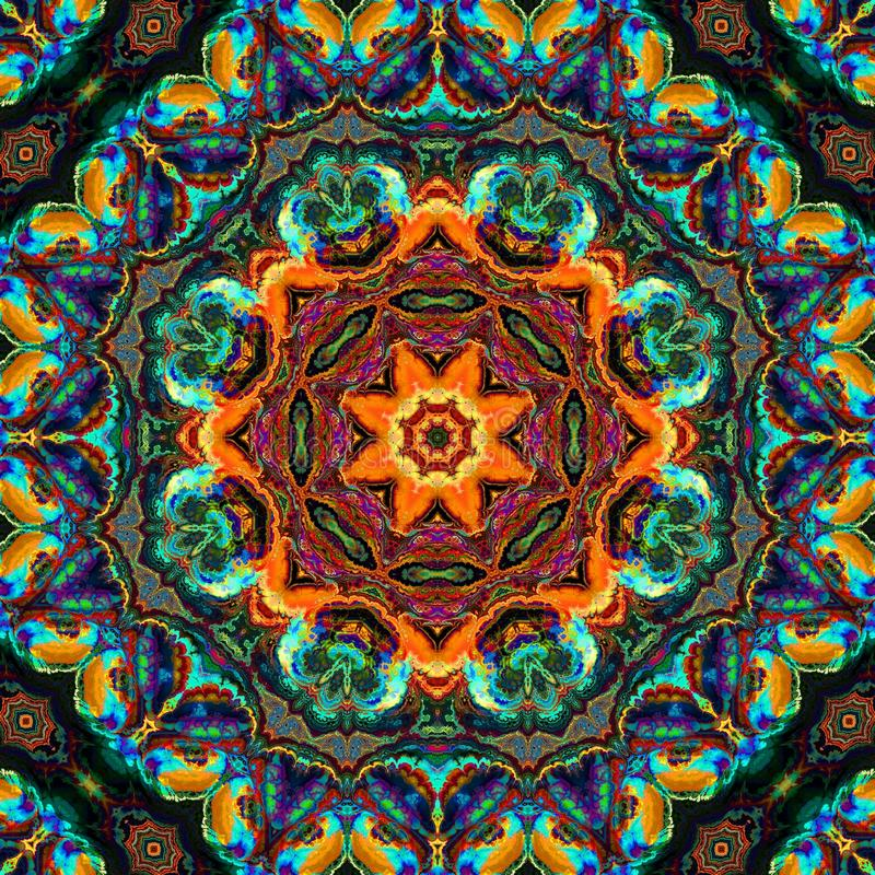 Colorful Kaleidoscope Pattern Green and Orange royalty free stock photography