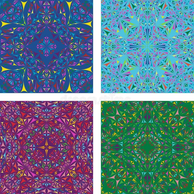 Colorful kaleidoscopic triangle background set royalty free stock photo