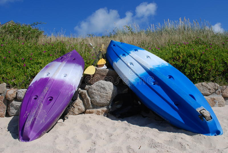 Colorful Kayaks royalty free stock photo