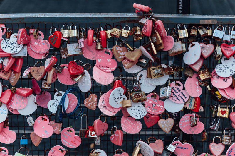 Colorful keychain holded on the bridge is called `Love Lock Penang Hill` from Penang Hill at George Town. Penang, Malaysia.  stock images