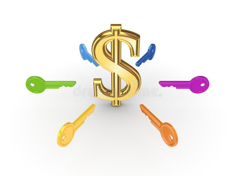 Download Colorful Keys Around Dollar Sign. Stock Illustration - Image: 29777071