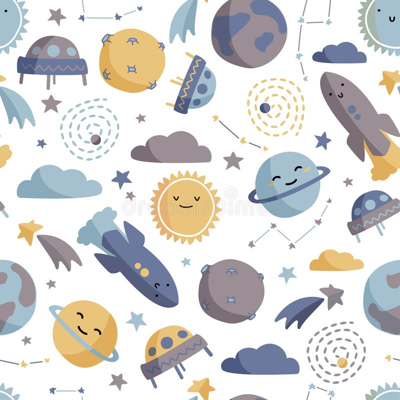 Cute space seamless pattern. Colorful kids background. Colorful kids background. Cute space seamless pattern vector illustration