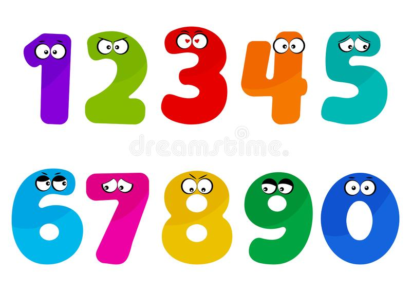 Colorful kids font numbers from 1 to 0 with cartoon eyes. Vector illustration. Colorful kids font numbers from 1 to 0 with cartoon eyes with different emotions vector illustration