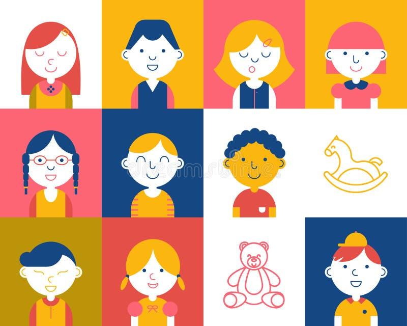 Colorful kids icon stock illustration