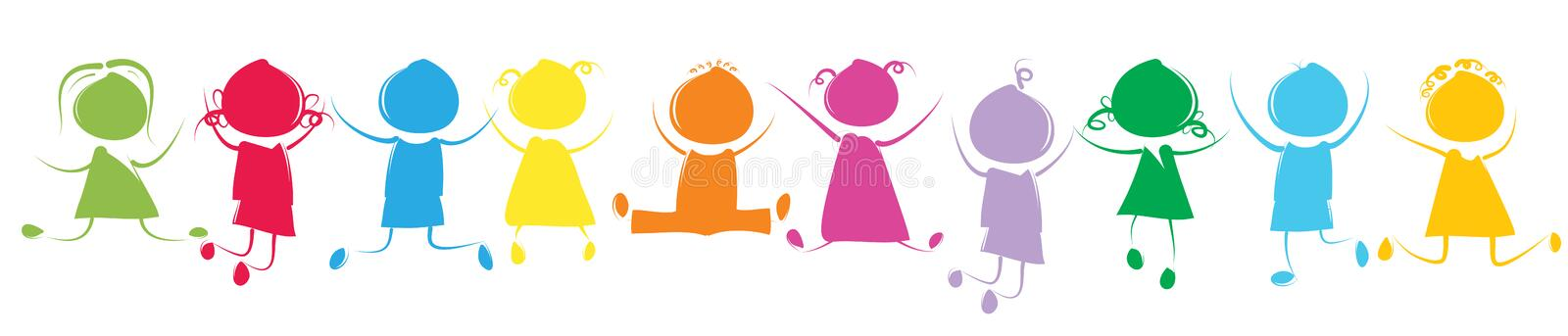 Colorful kids stock illustration