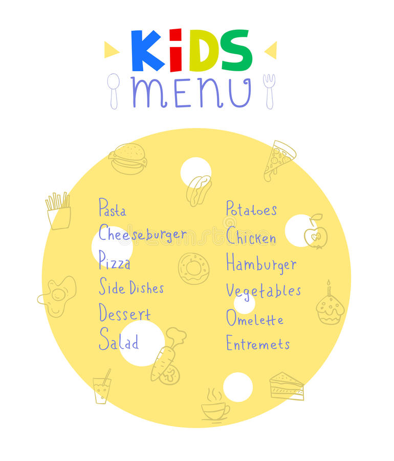 Colorful kids meal menu design vector template royalty free illustration