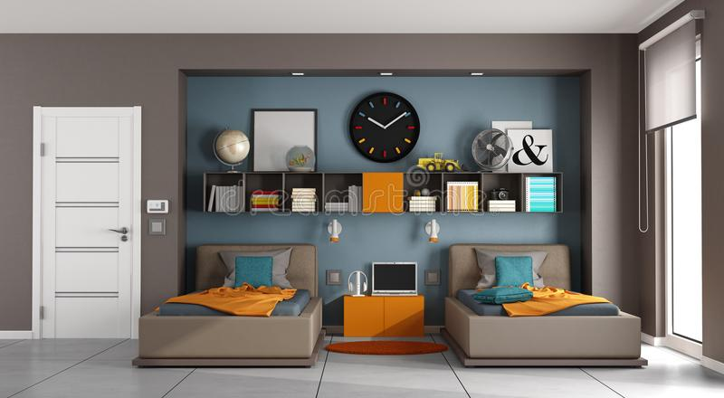 Colorful kids room. With two singles bed aand bookcase - 3d rendering vector illustration