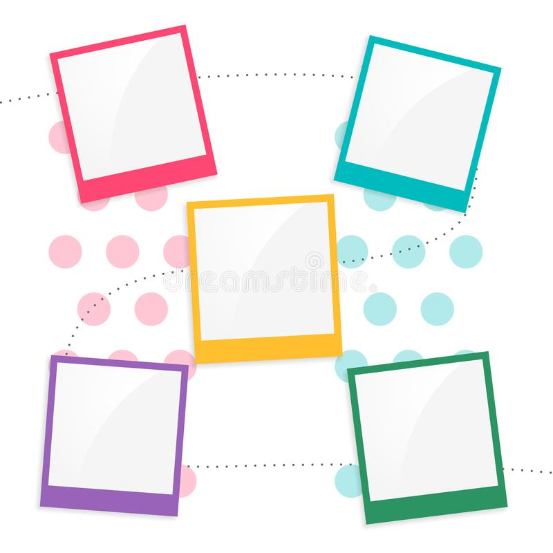 Colorful kids scrapbook page template. Vector royalty free illustration