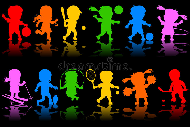 Colorful Kids Silhouettes [1]. Two colorful banners with happy kids silhouettes playing different sports. Eps file available