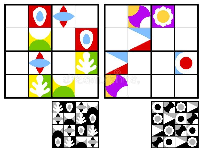 Colorful kids sudoku puzzle stock illustration