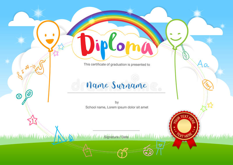 Colorful kids summer camp diploma certificate template in cartoo download colorful kids summer camp diploma certificate template in cartoo stock vector illustration of paper yadclub Gallery