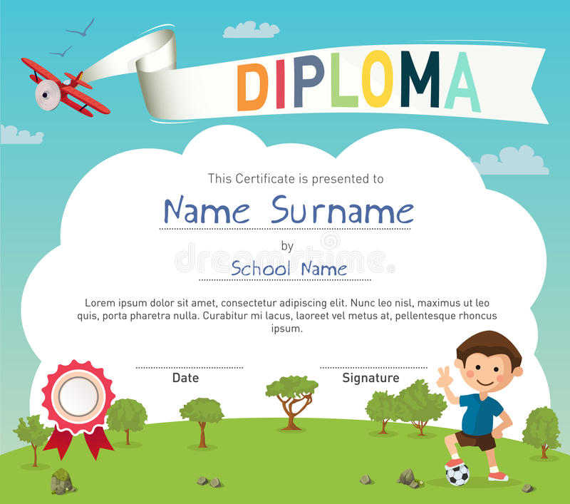 Colorful Kids Summer Camp Diploma Certificate Template Stock Vector