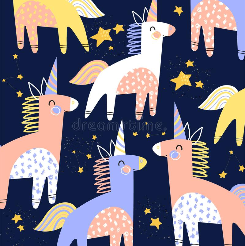 Colorful kids vector pattern of cartoon unicorns with horns and twinkling stars on a midnight blue background in square royalty free illustration