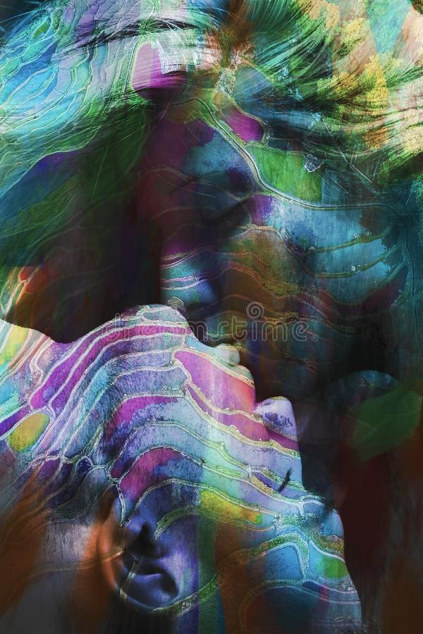 Man and woman colorful kiss double exposure. Colorful kiss men and women kissing double exposure royalty free stock photography