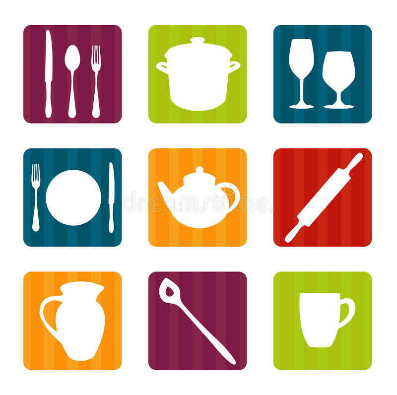 Download Colorful Kitchen Tool Icons Stock Vector - Illustration of glass, kettle: 18864706