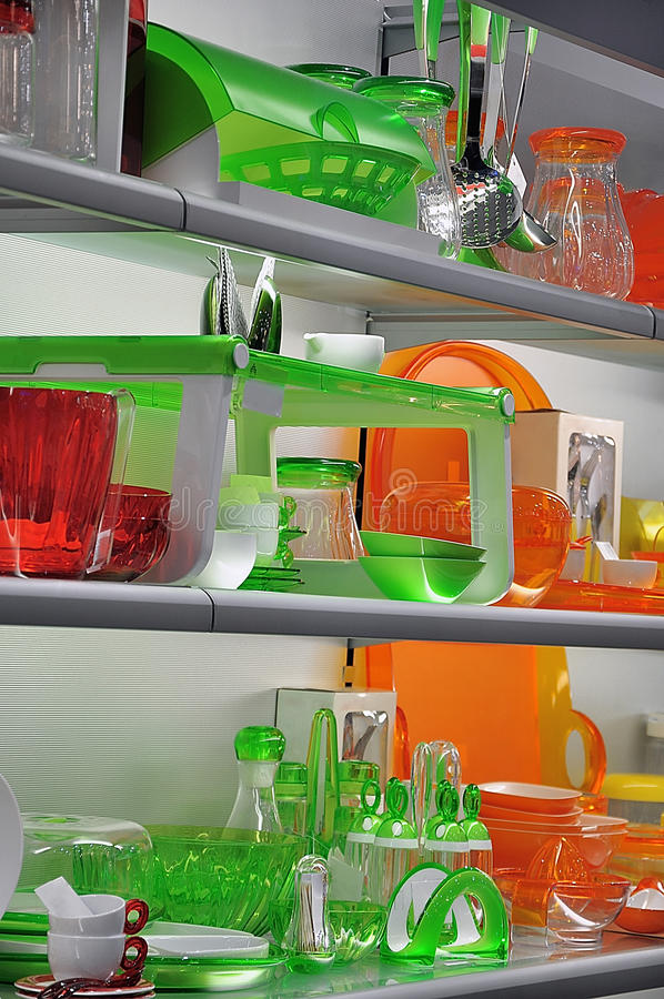 Colorful kitchenware stock image