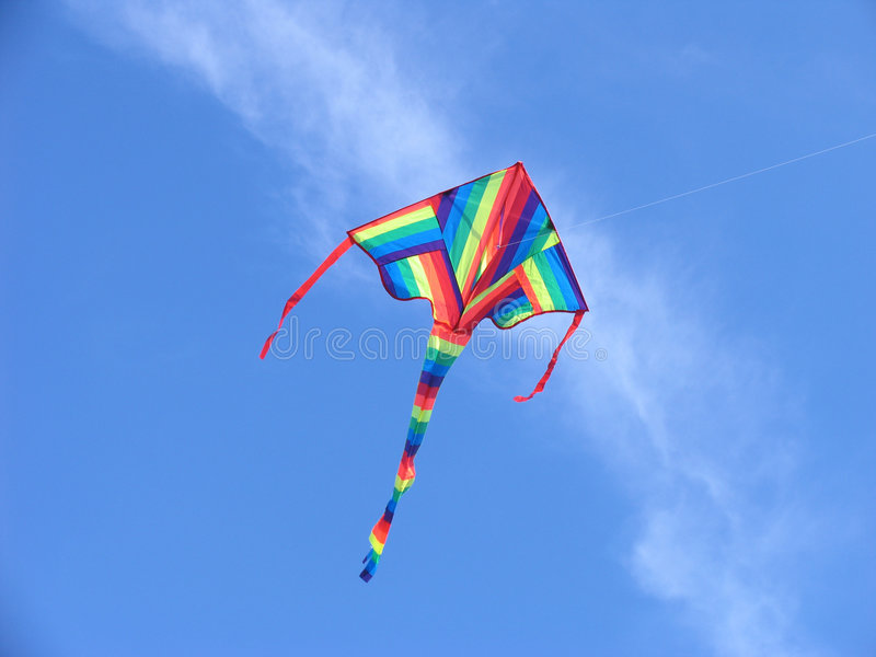 Download Colorful kite stock photo. Image of clouds, green, spring - 48902