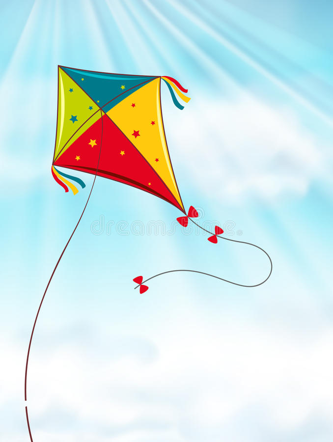 Colorful kite flying in blue sky stock illustration