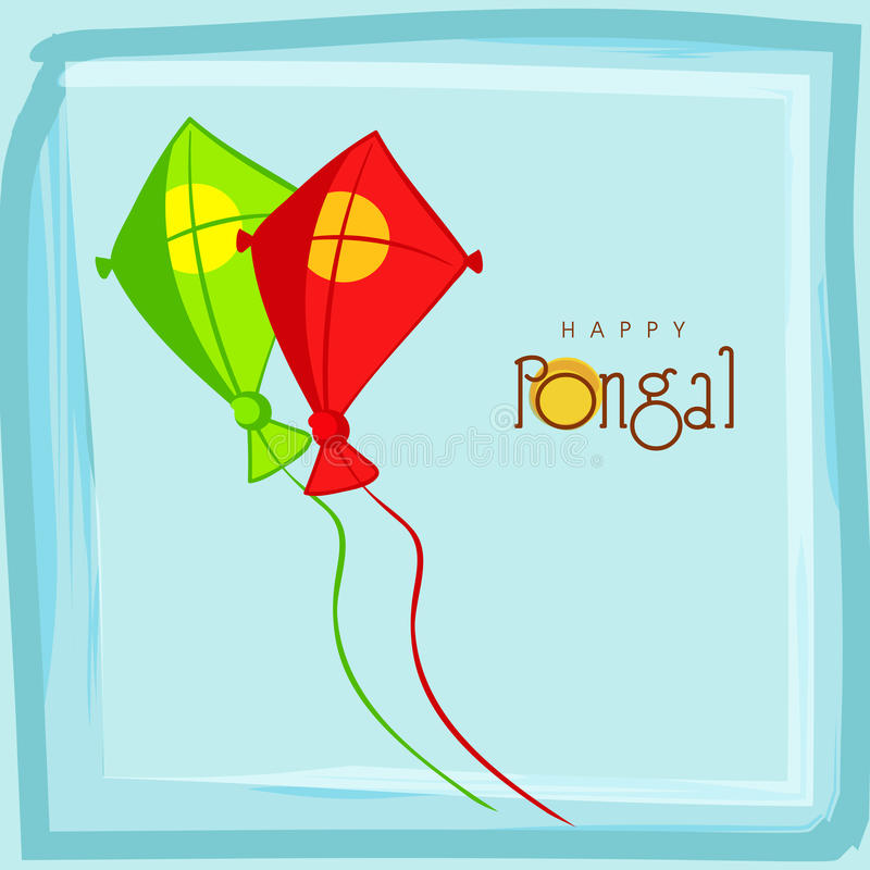 Colorful kites for Happy Pongal festival celebrations concept. Happy Pongal, South Indian harvesting festival celebrations with colorful kites on sky blue royalty free illustration