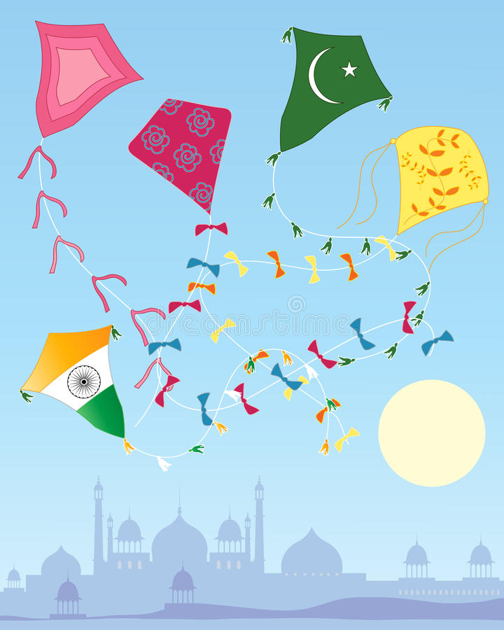 Colorful kites. An illustration of an indian kite festival under a blue sky with eastern skyline and a yellow sun stock illustration