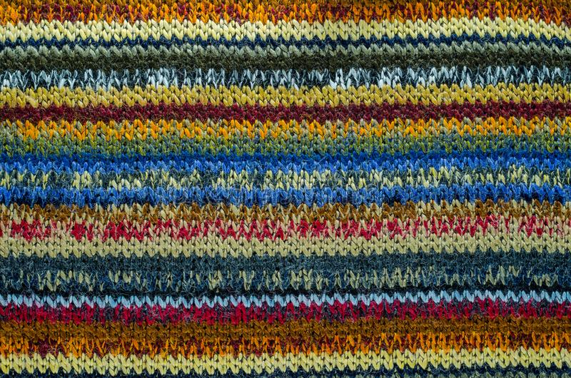 Colorful Knit Fabric Texture. royalty free stock photography