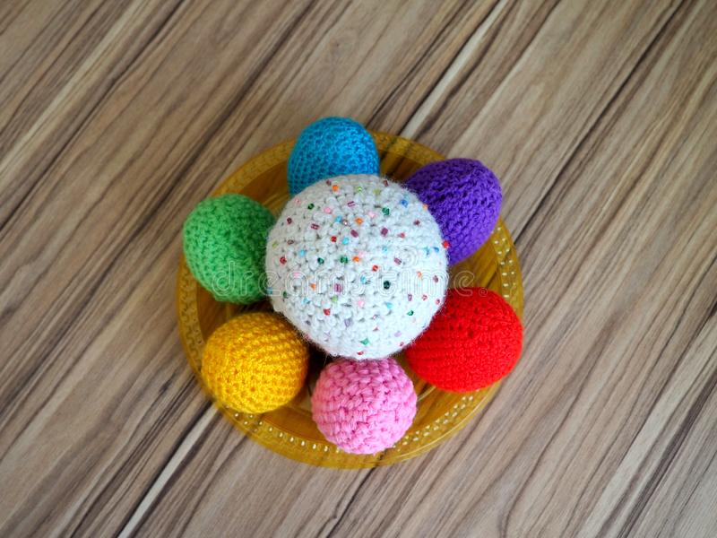Colorful knitted eggs & kuliches. stock image