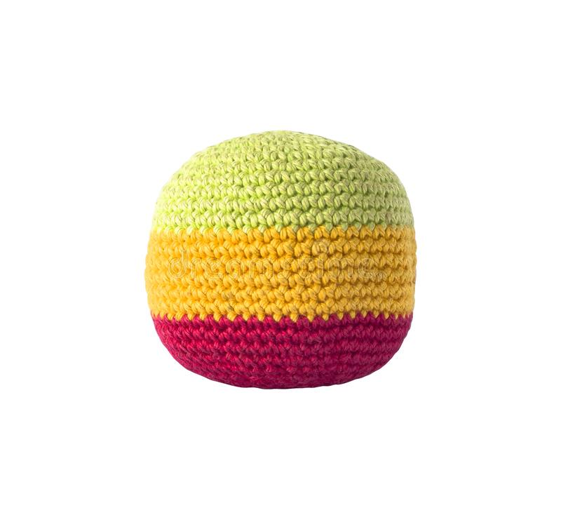 Colorful knitted hacky sack for footbag games stock images