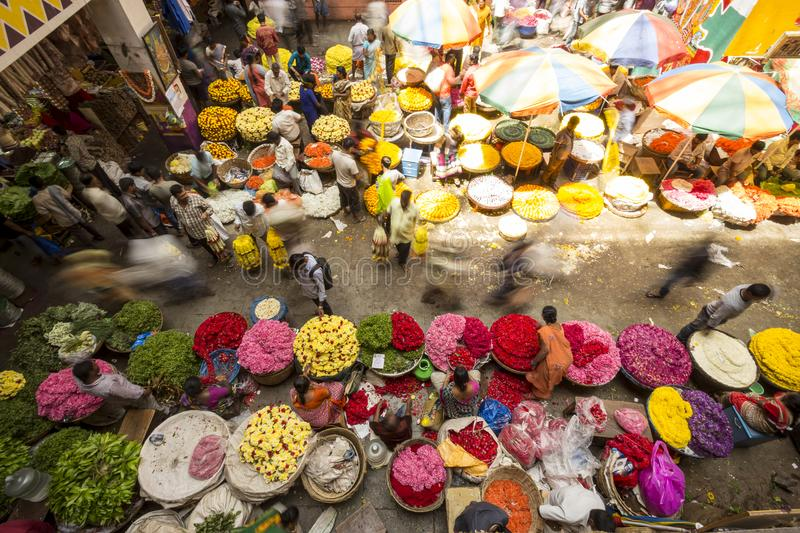 KR Flower Market, Bangalore, India. Colorful KR Flower Market in Bangalore, India seen from above. Photo taken on the 3rd Of March 2018 royalty free stock photo