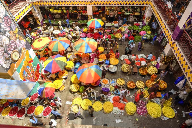 KR Flower Market, Bangalore, India. Colorful KR Flower Market in Bangalore, India seen from above. Photo taken on the 3rd Of March 2018 stock images