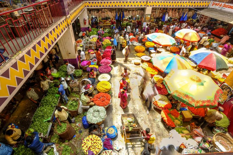 KR Flower Market, Bangalore, India. Colorful KR Flower Market in Bangalore, India seen from above. Photo taken on the 3rd Of March 2018 royalty free stock images