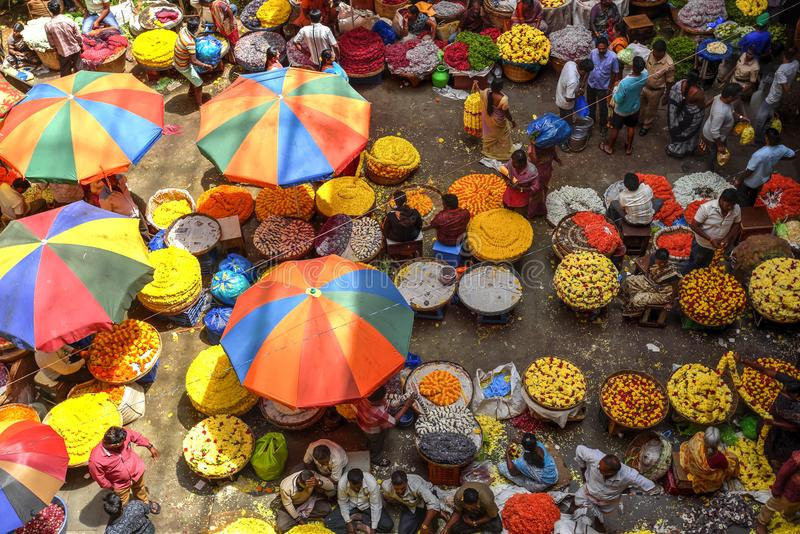 KR Flower Market, Bangalore, India. Colorful KR Flower Market in Bangalore, India seen from above. Photo taken on the 3rd Of March 2018 royalty free stock image