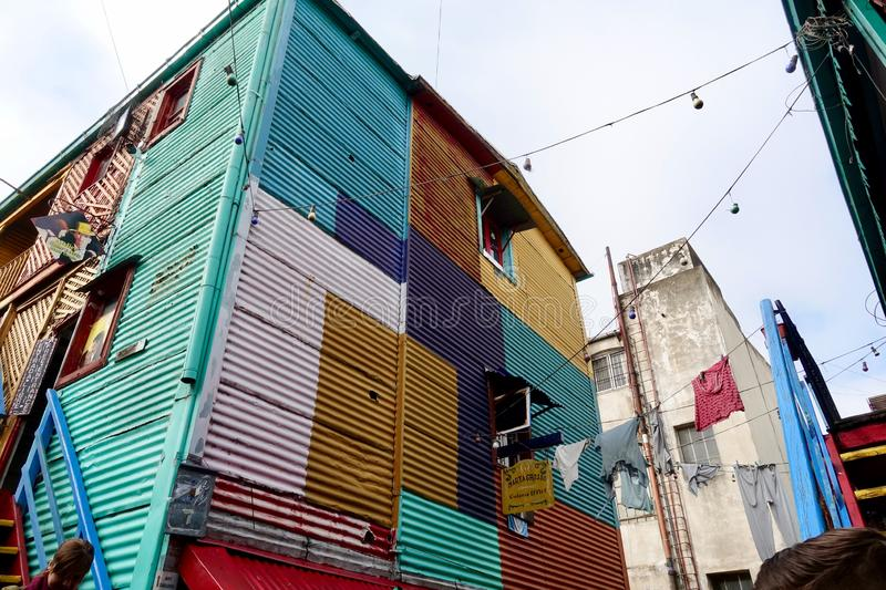 The colorful La Boca neighborhood in Buenos Aires. Buenos Aires/Argentina-5/27/19: La Boca is a working-class area with attractions near the Riachuelo River royalty free stock image