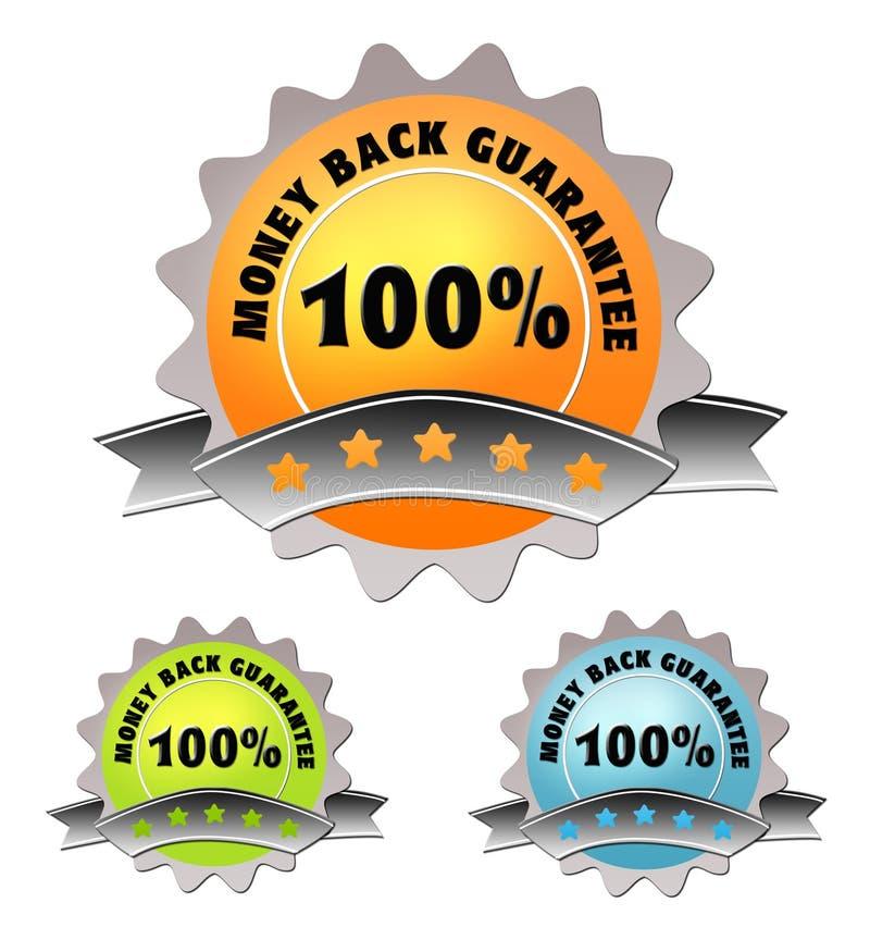 Colorful label of money back guarantee stock illustration