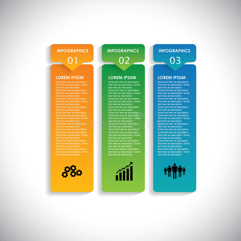 Colorful labels with sequence of steps - vector infographic. Banners. This vertical graphic can be used in marketing materials, websites & webdesigns, business stock illustration