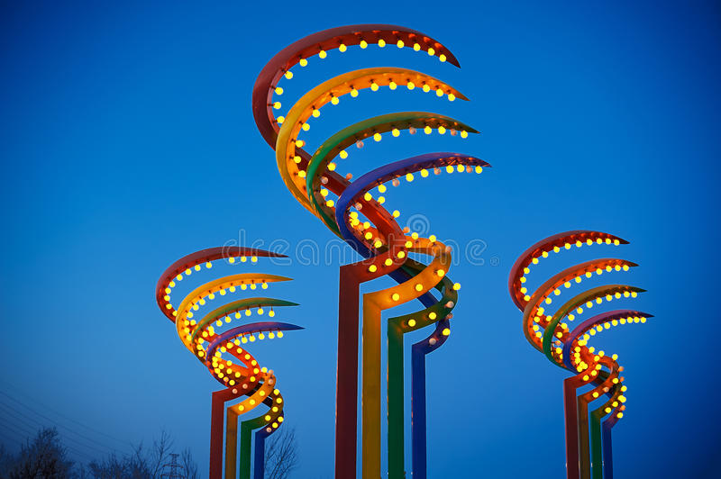 The colorful lamps in night royalty free stock images