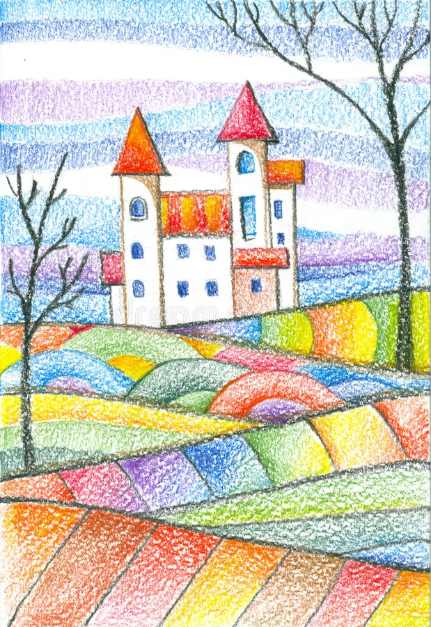 Colorful landscape with castle and trees on bright hills. Fantasy drawing by colored pencils royalty free illustration