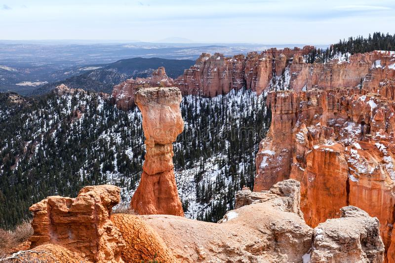 Colorful Landscape And Hoodoo Rock Called The Hunter stock images
