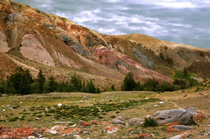 Colorful landscape of mountains in the Altai. Mountainous `Martian landscape`. Siberia. Russia stock photography