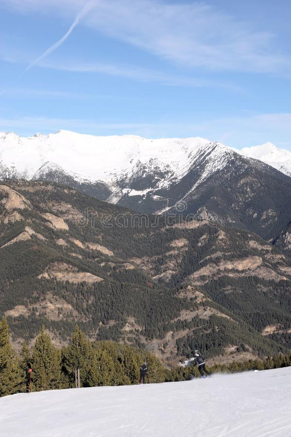 Colorful landscape - the mountains of Andorra covered with snow, Vallnord, Principality of Andorra, Europe . stock image