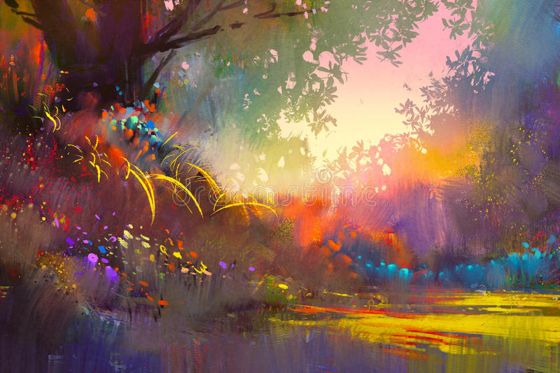 Colorful landscape painting vector illustration