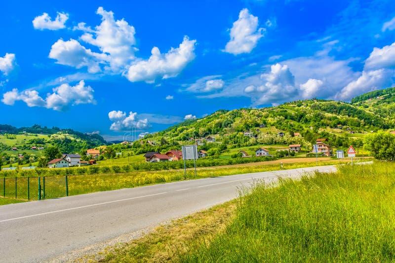 Colorful landscape in Prigora, Zagorje. Scenic view at colorful picturesque landscape in Zagorje region, Croatia royalty free stock photo