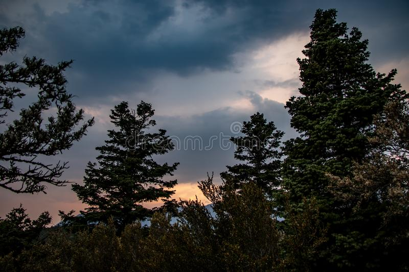 Colorful landscape at sunset in the mountains royalty free stock photography