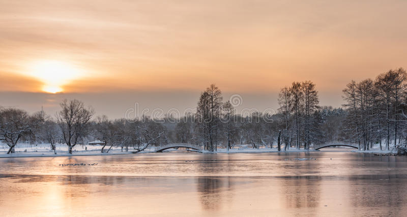 Colorful landscape at the winter sunrise in park royalty free stock images