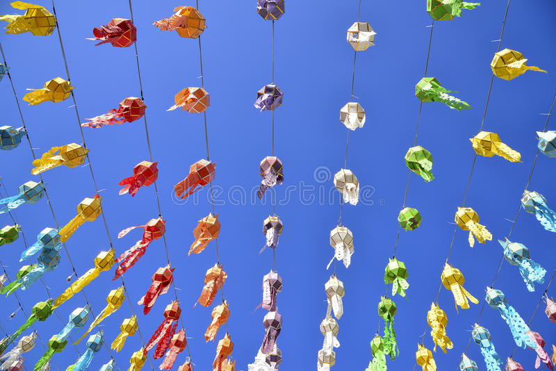 Colorful of the lantern. With the clear sky day royalty free stock image