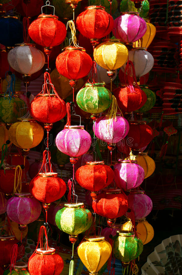 Colorful lantern, marketplace, mid-autumn festival royalty free stock photography