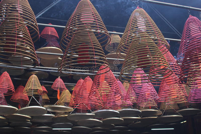 Mysterious and colorful incense lanterns,Tin Hau temple,Hongkong royalty free stock images