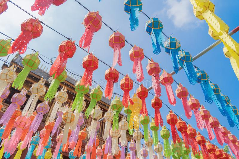 Colorful lanterns or lamps in travel trip and holidays vacation concept. Traditional festival in Harikulchai Temple, Lamphun, stock image