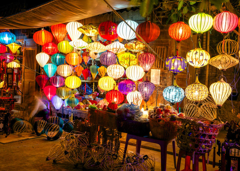 Colorful lanterns at the market street of Hoi An stock image