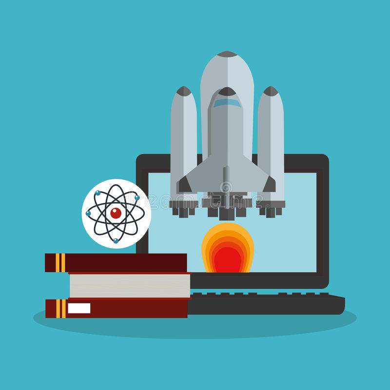 Colorful laptop and science design. Laptop books and rocket icon. Science laboratory chemistry and research theme. Colorful design. Vector illustration royalty free illustration